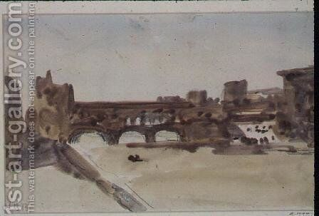 The Ponte Vecchio, Florence by Hercules Brabazon Brabazon - Reproduction Oil Painting