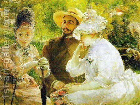 On the terrace at Sevres, 1880 by Marie Bracquemond - Reproduction Oil Painting