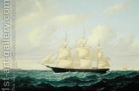 'Dashing Wave' clipper ship off Boston Light, 1855 by William Bradford - Reproduction Oil Painting