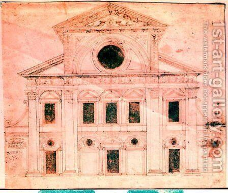 Design for the facade of a church by Donato Bramante - Reproduction Oil Painting