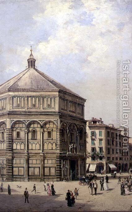 A View of the Baptistry in Florence by Antonietta Brandeis - Reproduction Oil Painting