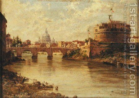 Castel Sant'Angelo and St. Peter's from the Tiber by Antonietta Brandeis - Reproduction Oil Painting