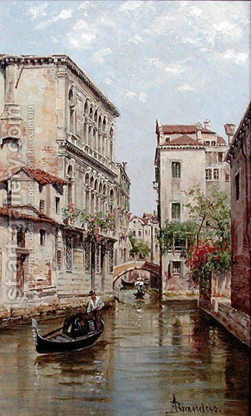 Gondolas on a Venetian Canal 'Rio de San Aportino' by Antonietta Brandeis - Reproduction Oil Painting