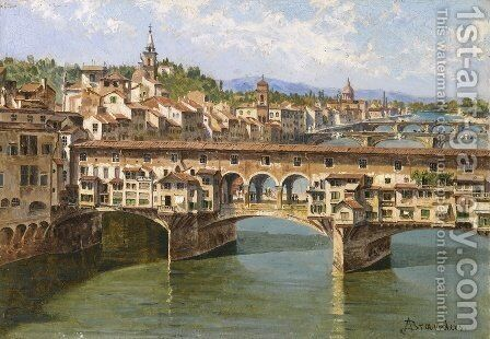 Ponte Vecchio, Florence by Antonietta Brandeis - Reproduction Oil Painting