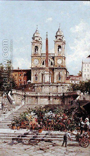 The Flower Market before the Spanish Steps, Rome by Antonietta Brandeis - Reproduction Oil Painting