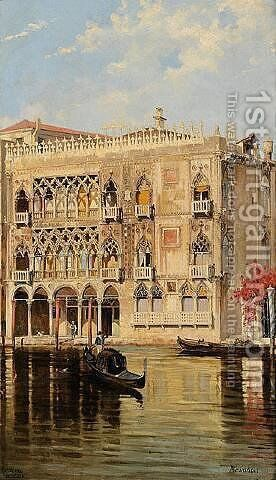 The Palazzo d'Oro on the Canal Grande in Venice by Antonietta Brandeis - Reproduction Oil Painting