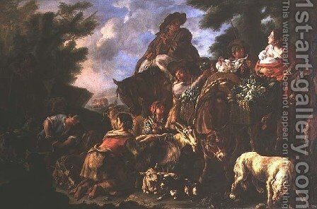 Group of shepherds with a horse by Domenico Brandi - Reproduction Oil Painting