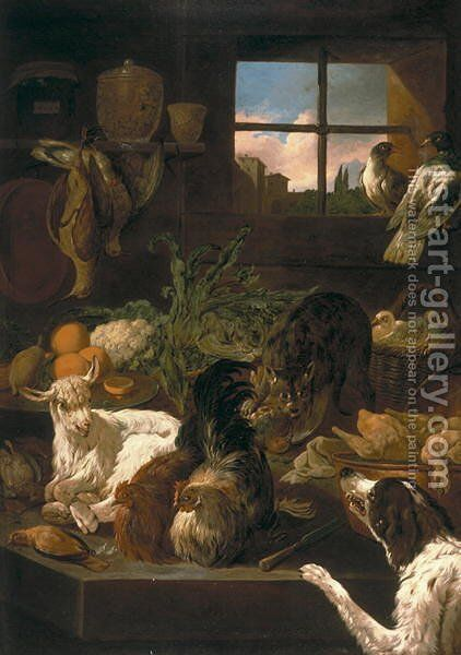 Pantry with Animals, 1703-36 by Domenico Brandi - Reproduction Oil Painting