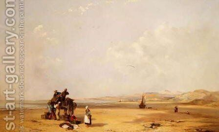 Fishermen unloading their catch on the beach in Cardigan Bay, 1841 by Charles Branwhite - Reproduction Oil Painting