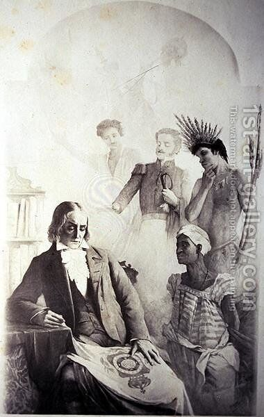 Founder of the Brazilian Country, 7th September 1822 - An Allegory representing the three races- the African slave, the Portuguese and the native Indian with Jose Bonifacio by Anonymous Artist - Reproduction Oil Painting