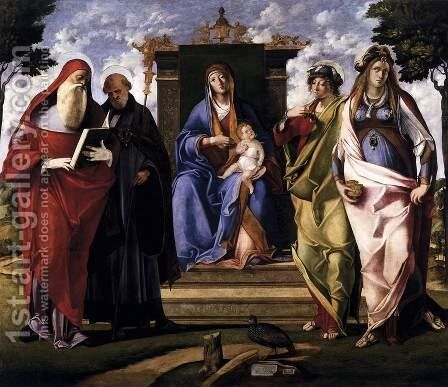 Virgin and Child Enthroned with Saints c. 1515 by Benedetto Diana - Reproduction Oil Painting