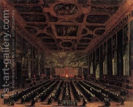 The Sala del Maggior Consiglio, Doge's Palace 1758-63 by Antonio Diziani - Reproduction Oil Painting