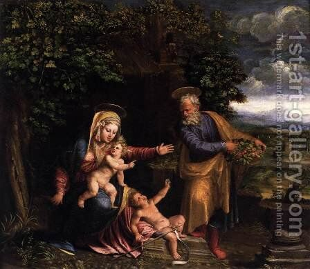 Holy Family with the Young St John the Baptist 1535-40 by Battista Dossi - Reproduction Oil Painting