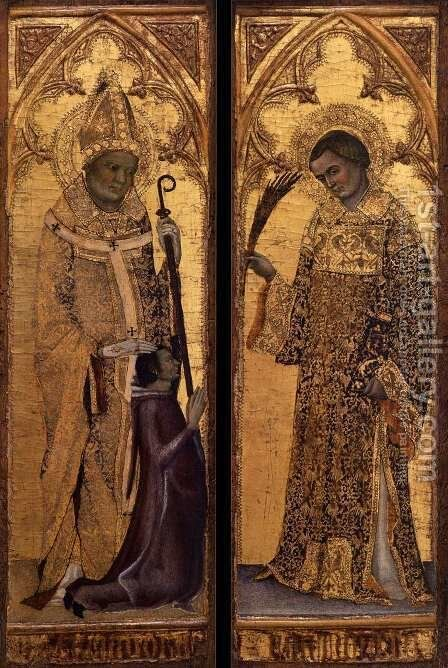 St Hermagoras and a Donor; St Fortunatus c. 1345 by Matteo Giovanetti - Reproduction Oil Painting