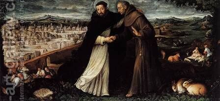 St Dominic and St Francis by Angelo Lion - Reproduction Oil Painting