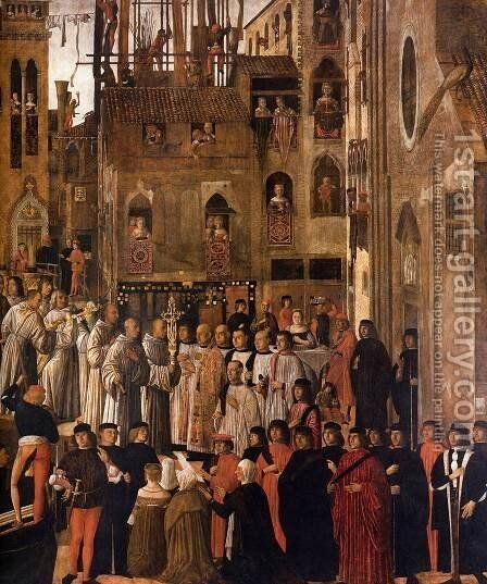 Miracle of the Relic of the Holy Cross in Campo San Lio (detail-1) c 1494 by Giovanni Mansueti - Reproduction Oil Painting