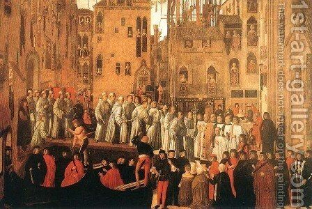 Miracle of the Relic of the Holy Cross in Campo San Lio c 1494 by Giovanni Mansueti - Reproduction Oil Painting