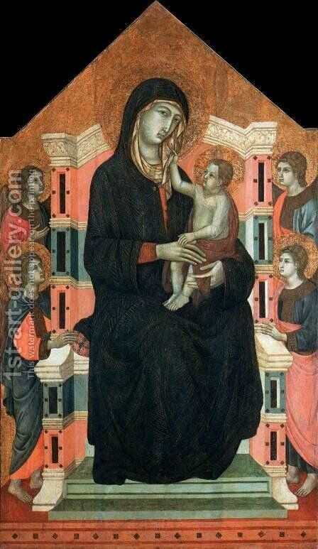 Maesta c. 1315 by Master of Badia a Isola - Reproduction Oil Painting