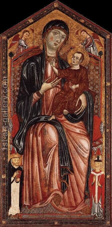Virgin and Child Enthroned c 1290 by Master of Magdalen - Reproduction Oil Painting