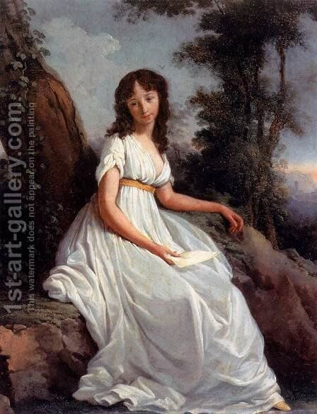 Girl with Letter 1797 2 by Teodoro Mattieni - Reproduction Oil Painting