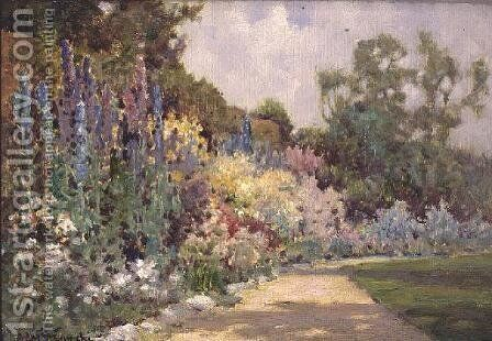 The Herbaceous Border by Alfred de Breanski - Reproduction Oil Painting