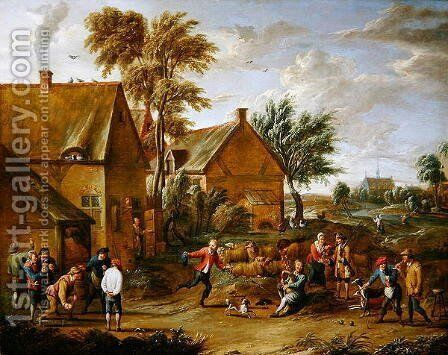 A Game of Bowls by a Tavern by Alexander van Bredael - Reproduction Oil Painting