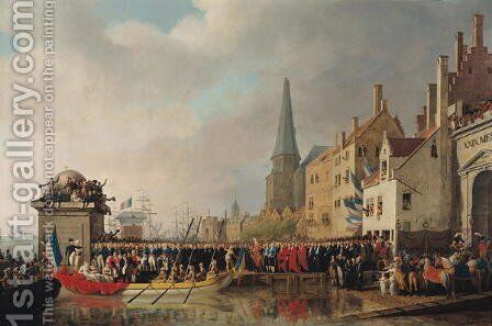 Entry of Bonaparte, as First Consul, into Antwerp on 18th July 1803,  1807 by Mathieu Ignace van Brée - Reproduction Oil Painting