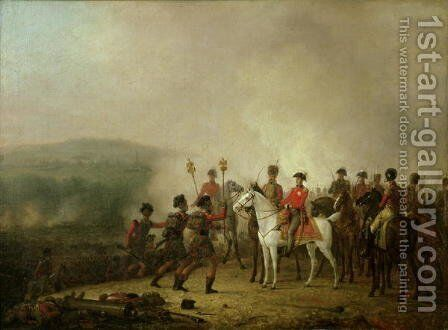 The Eagle Standards Taken at Waterloo Returned to Wellington, 18th June 1815 by Mathieu Ignace van Brée - Reproduction Oil Painting