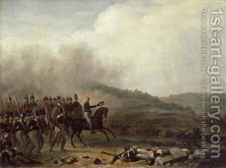 Willem Frederik Prince of Orange at the Battle of Quatre Bras, 16th June 1815 by Mathieu Ignace van Brée - Reproduction Oil Painting