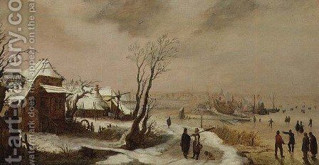Winter Landscape with a Farm by Adam van Breen - Reproduction Oil Painting