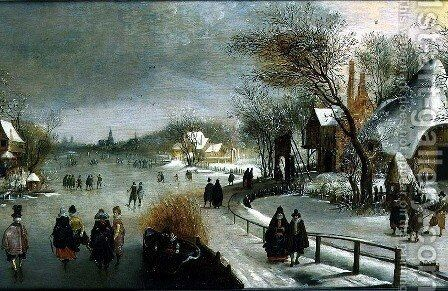 Winter Landscape with Skaters by Adam van Breen - Reproduction Oil Painting