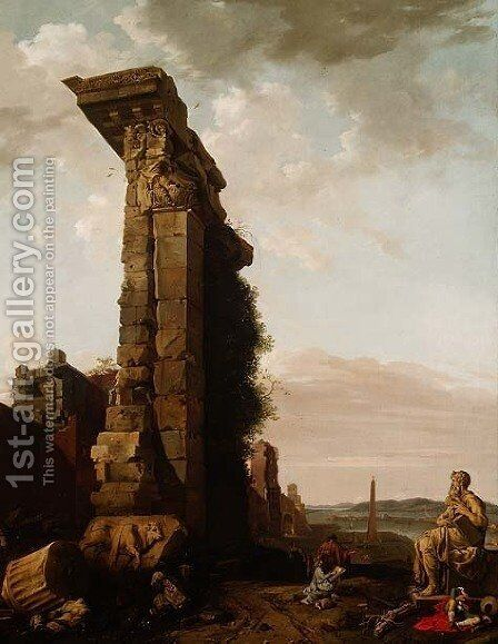 Capriccio view of a Mediterranean Port by Bartholomeus Breenbergh - Reproduction Oil Painting