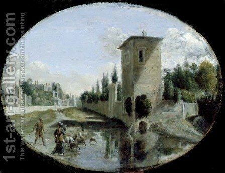 Italian Landscape by Bartholomeus Breenbergh - Reproduction Oil Painting