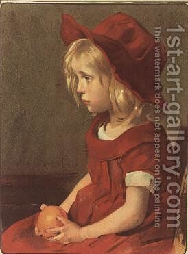 Fillette a l'orange by Marie Louise Catherine Breslau - Reproduction Oil Painting