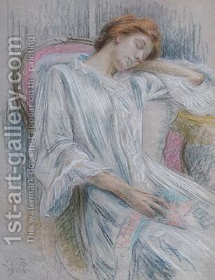 Young wonam asleep in a chair by Marie Louise Catherine Breslau - Reproduction Oil Painting