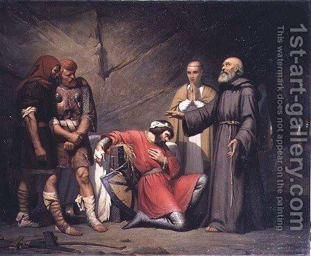The conversion of Robert, Duke of Normandy, known as Robert the Devil, scene from the opera 'Robert the Devil' by Giacomo Meyerbeer (1791-1864), 1840 by Guillaume-Alphonse Harang Cabasson - Reproduction Oil Painting