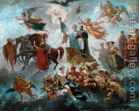 Apotheosis of Napoleon III (1808-73) 1854 by Guillaume-Alphonse Harang Cabasson - Reproduction Oil Painting