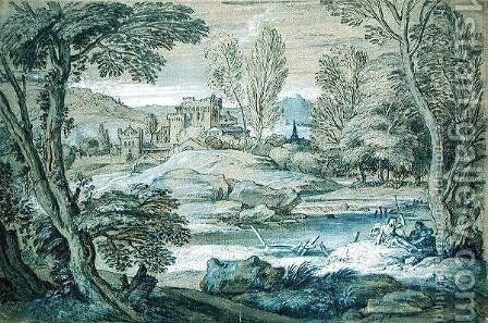 Classical landscape by Adrian van der Cabel - Reproduction Oil Painting