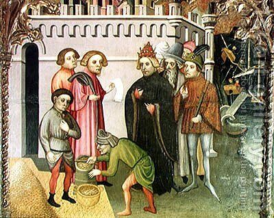 The Miraculous Multiplication of the Grain (detail from the St. Nicholas of Bari altarpiece) 1406 2 by Jaime Cabrera - Reproduction Oil Painting