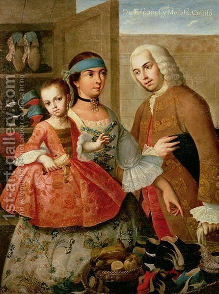 A Spaniard and his Mexican Indian Wife and their Child, from a series on mixed race marriages in Mexico by Miguel Cabrera - Reproduction Oil Painting