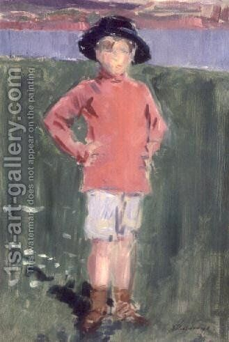 Young Boy on the Shore, Iona by Francis Campbell Boileau Cadell - Reproduction Oil Painting