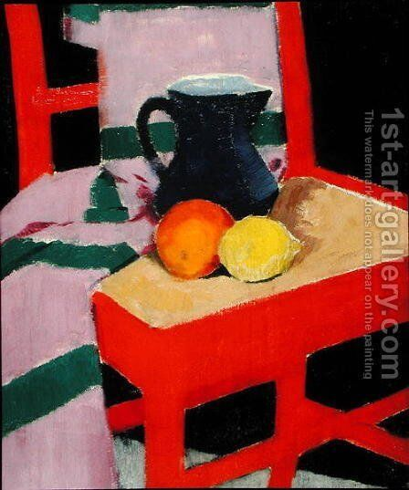 The Red Chair (The Blue Jug) c.1934 by Francis Campbell Boileau Cadell - Reproduction Oil Painting