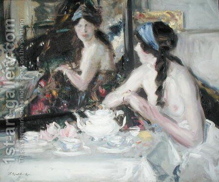 At the Mirror, 1913 by Francis Campbell Boileau Cadell - Reproduction Oil Painting
