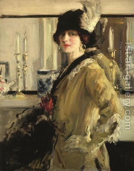 The Black Hat by Francis Campbell Boileau Cadell - Reproduction Oil Painting