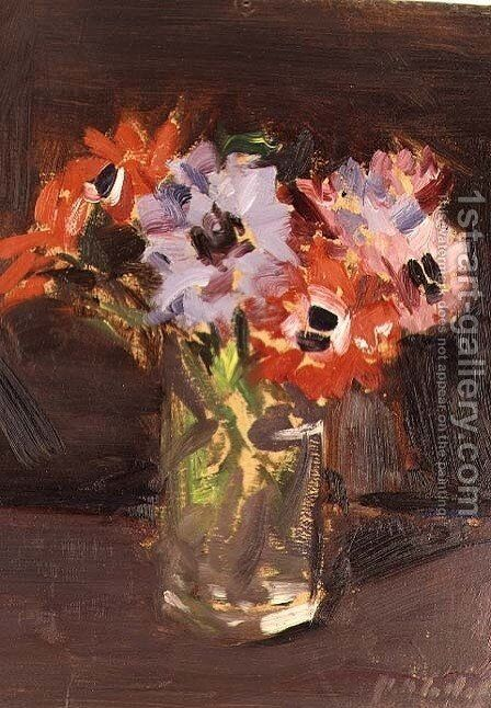 A Still Life of Anemones by Francis Campbell Boileau Cadell - Reproduction Oil Painting