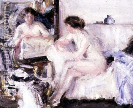 Nude Seated on a Sofa by Francis Campbell Boileau Cadell - Reproduction Oil Painting