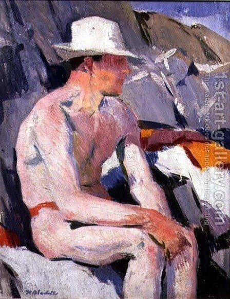 Bather in a White Hat by Francis Campbell Boileau Cadell - Reproduction Oil Painting