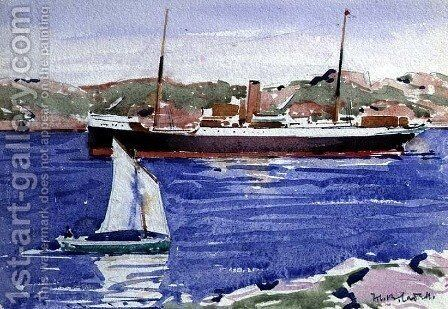 Steamer and Yacht, Iona by Francis Campbell Boileau Cadell - Reproduction Oil Painting