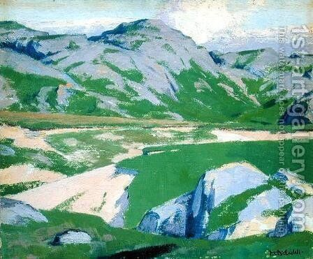 Lake and Mountains by Francis Campbell Boileau Cadell - Reproduction Oil Painting