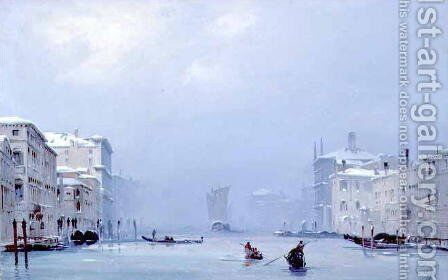 Grand Canal with Snow and Ice, 1849 by Ippolito Caffi - Reproduction Oil Painting
